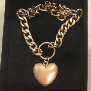 H&M heavy chain heart pendant gold tone necklace